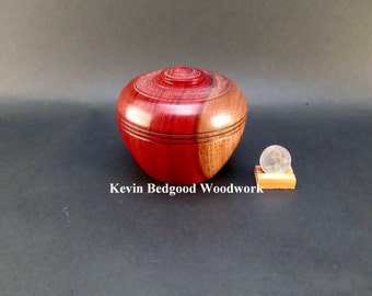 Box Lidded Container Borneo Rosewood wood hand turned Jewelry stash two tone color