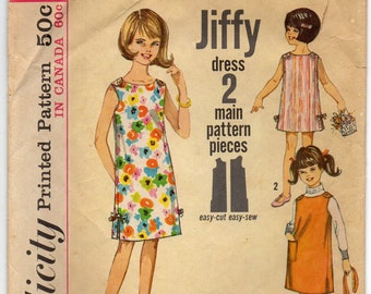 Loose Fitting One Piece Dress Or Jumper With Scoop Neckline Girls Size 8 Children's Used Vintage Sewing Pattern 1964 Jiffy Simplicity 5467