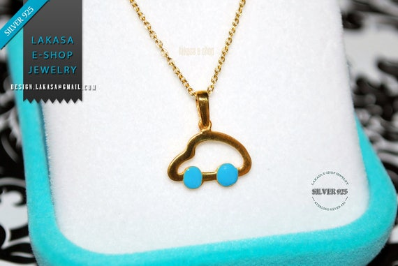 Blue Enamel Happy Car Chain Necklace Sterling Silver Jewelry Boy Best Gift Baptism Newborn ShowerDay Mother BabyBoy Cute Kids Collection