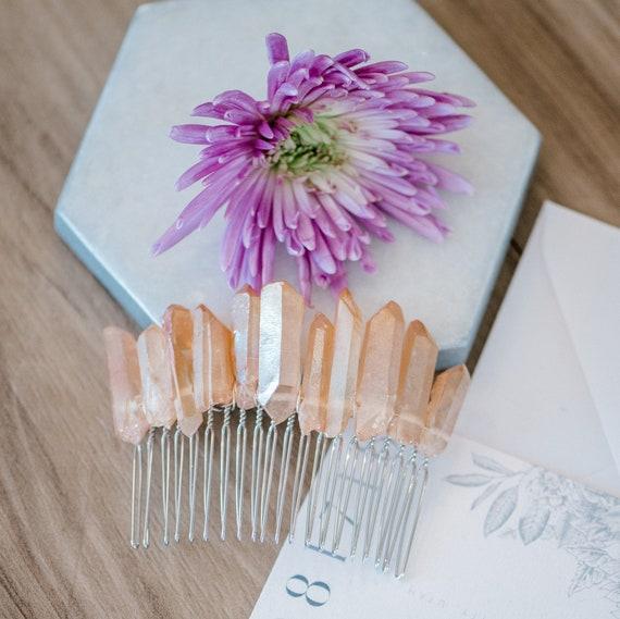 Crystal Hair Comb, Boho Hair Comb, Quartz Hair Comb, Quartz Bridal Comb, Festival Hair Comb, Electroplated Quartz, Crystal Hair Comb