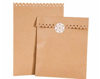 SO RETRO! Set of 8 lace - H21cmx15cm Kraft bags
