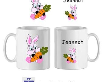 Mug ceramic rabbit with a name (ex. Bunny)