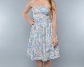 Vintage 80's Pastel Sundress // Drop Waist Crinoline Skirt // M