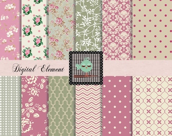 Commercial Use: Digital Floral Paper, Scrapbook Paper, Floral Paper, Victorian Roses, Scrapbook Paper, Green Digital Paper, No. V7.18