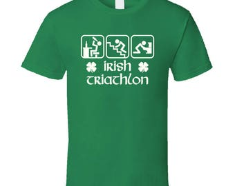 Funny Irish Triathlon St Patricks Day T Shirt