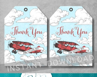 Vintage Airplane Favor Tags - Airplane Baby Shower - Red and Blue - Thank You Tags - Gift Tag - DIY - Digital Printable - INSTANT DOWNOAD