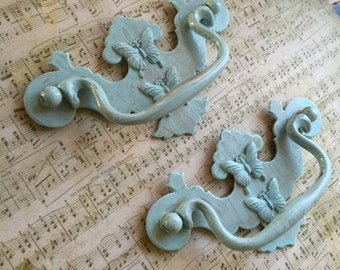 Shabby Chic Drawer Pulls Vintage Home Accents Vintage Patina Washed Embellished  Babies Room Accents Vintage Drawer Pulls Ornate Hardware