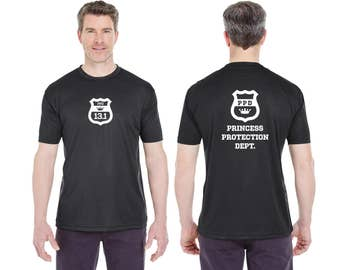 PPD Princess Protection Department Moisture Wicking Black Shirt - Shield, 13.1, 26.2 - Front or Back