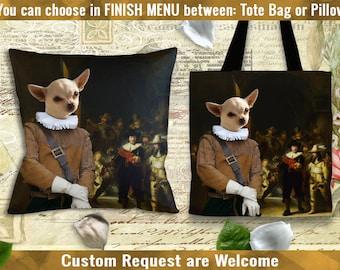 Chihuahua Pillow or Tote Bag/Chihuahua Art/Chihuahua Portrait/Dog Tote Bag/Dog Pillow/Dog Art/Custom Dog Portrait/Chihuahua