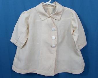 Antique Silk Baby Coat - ivory silk shantang  - ca 1920