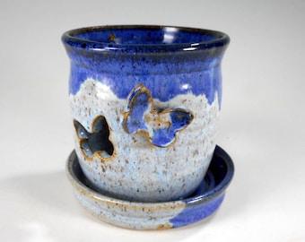 Tea light candleholder, pottery candle burner, blue ceramic candleholder, butterfly candle holder , stoneware candle burner, candle lantern
