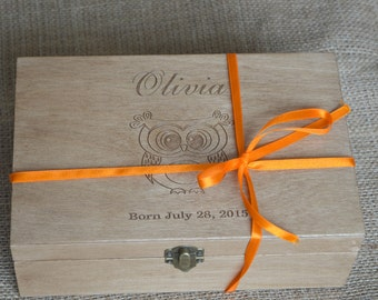 Owl, Personalized Baby box, Keepsake Memory Box, Christening Box, Baptism Box, Wooden Box, Gift for Baby, New baby box, Gift for birthday