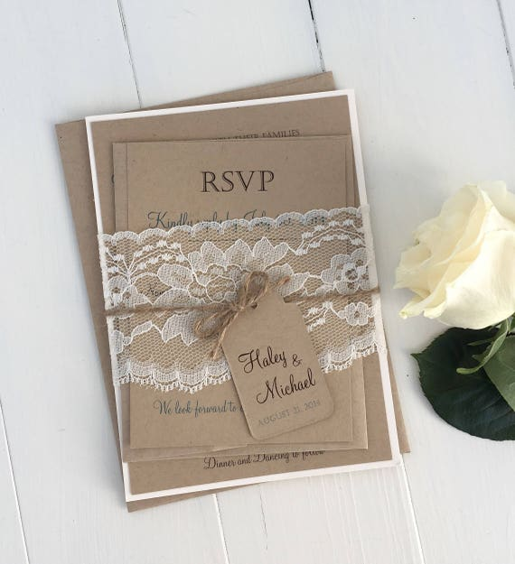 Rustic Wedding Invitation Kit Eco Kraft and Rustic Lace