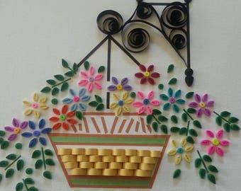 paper art, quilling, floral basket, home decor, 3D wall art