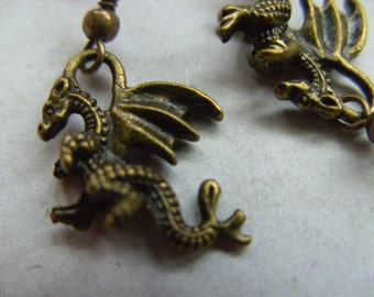Bronze, DRAGON,dragon earrings, bronze dragon earrings,  earrings, 3d, by NewellsJewels on etsy