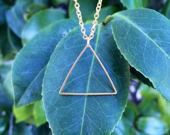 THE OPEN TRIANGLE Necklace // Large Triangle Pendant Necklace on 14k Gold Filled Chain