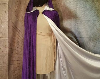 Purple Crushed Panne Velvet and White Satin Cloak