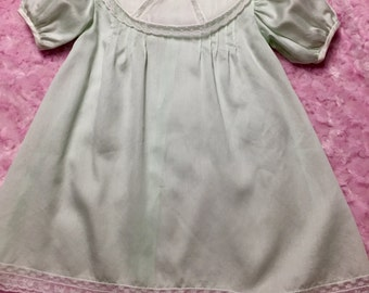 Baby Day Dress in Mint Green Satin Batiste - Size 12 month