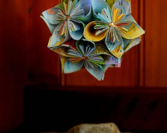 Map Paper Flower Ball