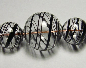 Blown Glass Hollow beads in Clear with black stripes, set of 5 graduated beads