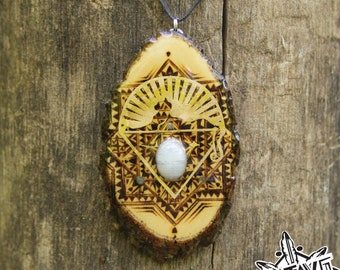 Woodburned Dogwood Slice with 24k Gold, Moonstone and Labradorite