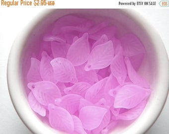 HALF PRICE 20 Lilac Lucite Leaf Charms