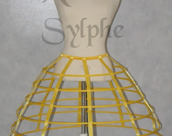Yellow color hoop cage skirt long pannier 6 rows plastic boned crinoline
