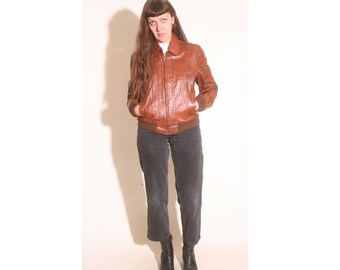 Vintage 1980s Genuine Leather Brown Mexico Bomber Biker Jacket size S/M
