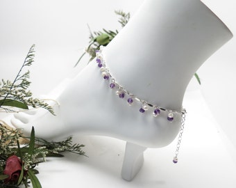 Amethyst Freshwater Pearl Anklet, February June Birthstones, Purple Gemstone Anklet In Sterling, 8.75-10.25 Inches, Birthstone Anklet