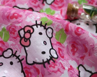 1 x coupon patchwork Hello Kitty head sewing fabric