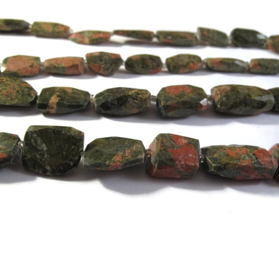 Unakite Nugget Beads, One Strand of Chunky Gemstones for Making Jewelry, 14 Inch Strand, About 18 Beads (S-Un1)