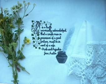 Jane Austen Quote from Pride and Prejudice - Machine Embroidered Frameable Art