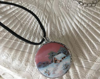 Handmade Hand painted Woman's Pendant Necklace Jewelry