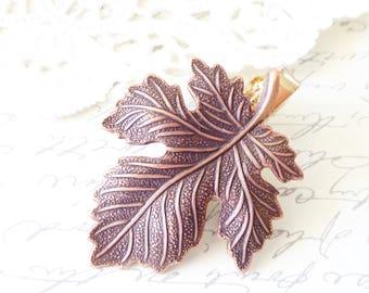 Copper Maple Leaf Tie Bar - Maple Leaf Tie Bar - Mens Tie Clip - Wedding Accessory - Groomsmen Leaf Tie Bar - Woodland Wedding - Autumn Leaf