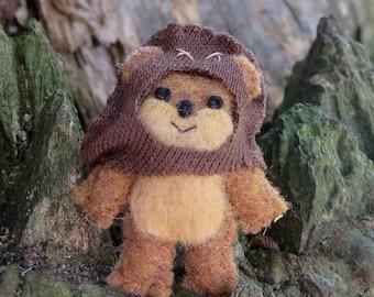 Star wars Ewok miniature felt stuffed animal plush - wicket - Return of the Jedi - felt bear - star wars gift-star wars art-handmade plushie
