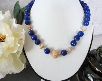 Blue lapis necklace with gold pave beads, lapis lazuli necklace, lapis bead jewelry,  royal blue Lapis, unique for women, lapis jewelry