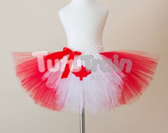 Canada Day Tutu Skirt, Canadian Flag Tutu, Red White Tutu, Canada Skirt, Canada Day Dress, Birthday Party, Photo Prop, Patriotic Tutu
