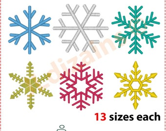 Schneeflocken Stickerei-Design Satz von 6 Flocken. Maschinenstickerei Design -Sofort je 13 Größen Download-. Snowflake Stickereientwurf.