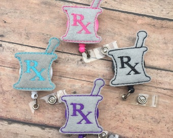 Pharmacist Badge clip - Pharmacy Badge Reel - Nursing Badge Clip - Retractable Id Badge Holder - Pharmacist - Pharmacy Technician - RX