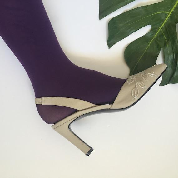 6.5 deadstock 90s vintage beaded detail sling back high heel pumps womens cocktail formal dress shoes 6 pointed toe baroque tan beige avant