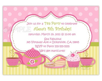 Tea Party Birthday Invitation (You Print)
