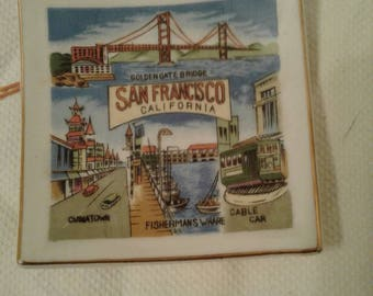 "Free Shipping!!! Vintage Mid Century Ceramic 3.875"" Square Commemorative Souvenir Plate From San Francisco California Made In Japan"