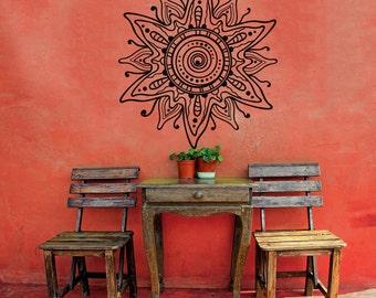 Mandala Flower Wall Decal- Flower Mahendi Pattern Wall Art- Mandala Vinyl Decal Stickers Boho Bohemian Bedroom- Indian Ornament Decor #5