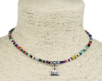 Seed Bead Choker Necklace Bohemian Style Multicolored with Dangle Wish Charm