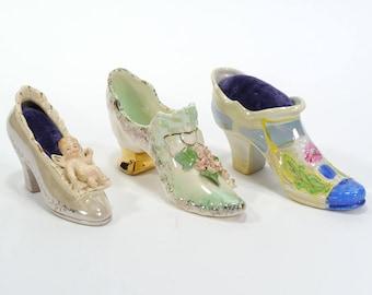 Vintage Lot of 3 Shoe Pincushions - Porcelain Shoe Pincushions - Japan - Ceramic Pincushions - Victorian Shoe Pincushions- Pioneer Moseco NY