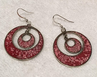 Outstanding Vintage Sterling Silver & Polished Stainless Steel-ROUND Shaped Drop and Dangle Earrings-with RED Speckled ENAMEL-5.4cm Drop