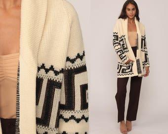 Bohemian Cardigan Ethnic WRAP Sweater 70s BOHO Knit Tribal Chunky Vintage Hippie Aztec Festival 1970s Cream Brown Medium Large