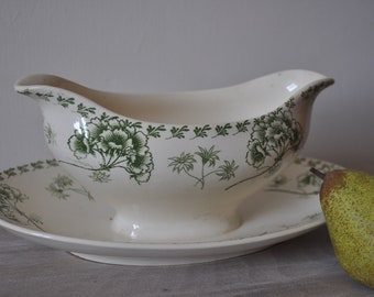 Antique French Country Green Transferware  - Sarreguemines
