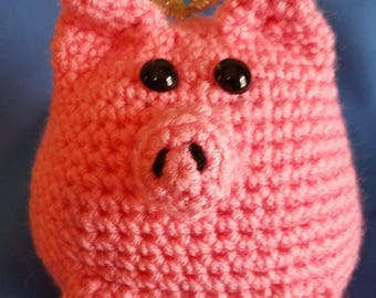 Flying pig, pink with wings, crocheted