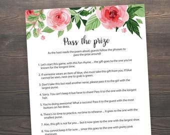 Pass the Prize, Baby Shower Games, Floral Baby Shower, Rhyme Game, Parcel Game, Watercolor,Pass the Parcel Game, Baby Shower Game, S017